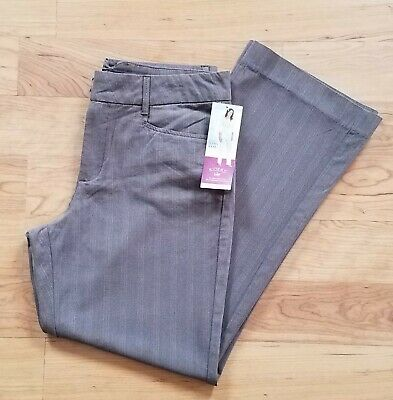Womens RIDERS BY LEE Brown Pin Stripe Casual Pants Trousers Size 14M (#14)