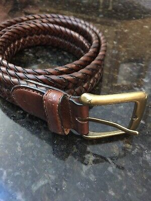 DOCKERS Braided WOVEN Brown LEATHER Belt  Men's Size 36