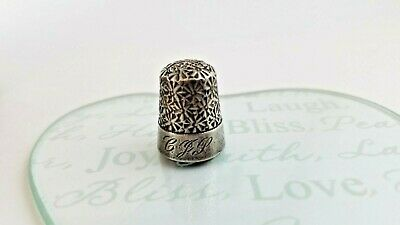 Antique Waite Thresher Sterling Silver Rare Floral Thimble Size 9 PP3244