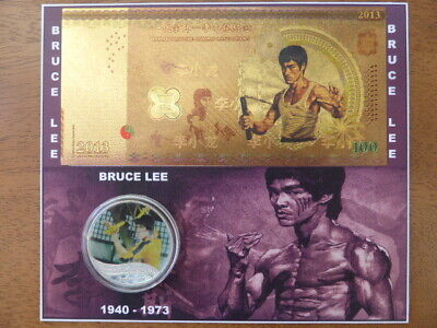 50P Brexit Unc Coin + Bruce Lee Coin &Foil Note On Display Card,Only 2 Available
