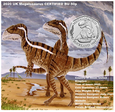 NEW 2020 UK Megalosaurus CERTIFIED BU 50p BRAND NEW JUST OUT.ONLY 3 AVAILABLE