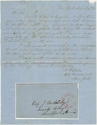 1851 - Letter offering Microscope Demonstrations to College Students