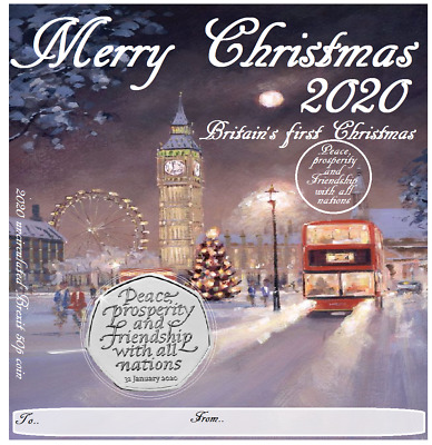 BREXIT 50P UNCIRCULATED from sealed bag CHRISTMAS 2020 GREETING CARD