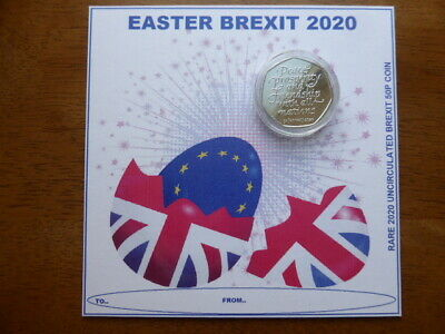BREXIT 50p coin uncirculated from sealed bag.EASTER CARD,ONLY 3 AVAILABLE