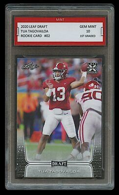 Tua Tagovailoa 2020 Leaf Draft 1St Graded 10 Rookie Card Rc Alabama Crimson Tide