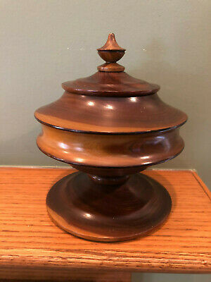 Beautiful Hand Turned Wood Lidded Bowl Vase Jar Container Vessel