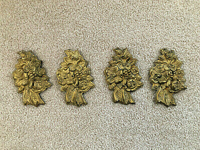 Lot of 4 Vintage Pressed Brass Floral Curtain Tieback Caps
