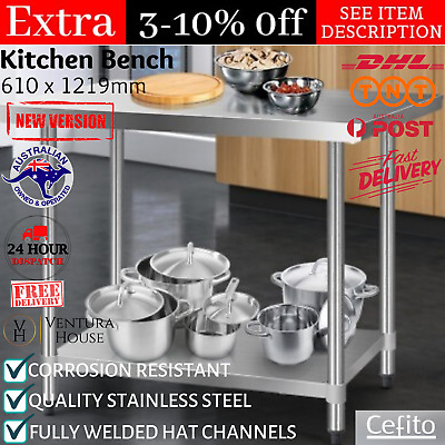 Large Commercial Stainless Steel Bench Table Kitchen Counter Working Food Prep