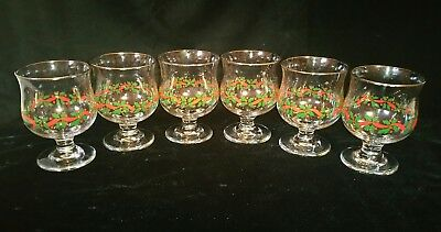 """(6) Arby's Libbey Christmas Holiday Holly Berry 4-1/2"""" Parfait Glasses W/ Gold"""