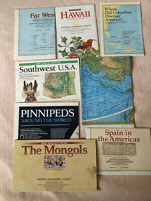 Lot of 8 National Geographic Insert/maps - Hawaii - Apain - Southwest USA