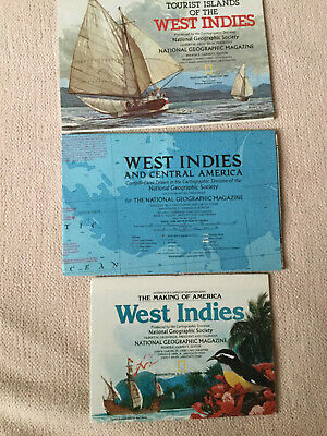 Lot of 3 National Geographic Insert/maps - West Indies