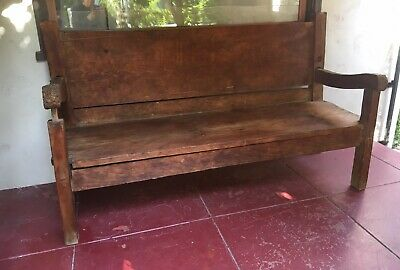 Antique Vintage Spanish Colonial Church Pew Bench|Hand Planed Pegged|Curved Arms