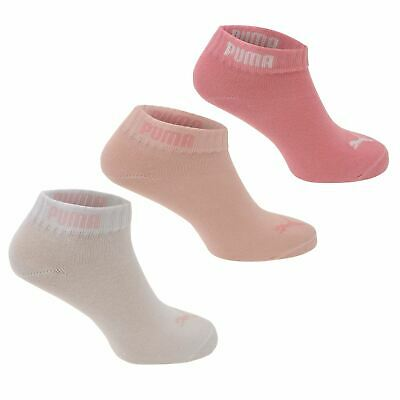 Puma Girls Quarter Socks 3 Pack Kids Comfortable Fit Logo Sports Footwear