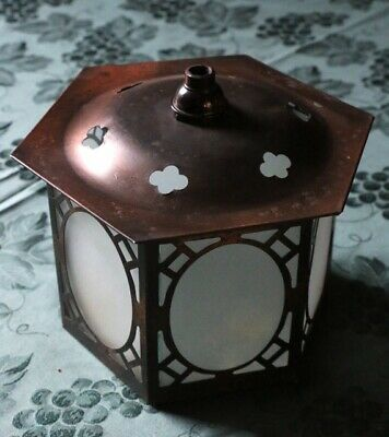 A Lovely Arts & Crafts Porch Lantern - Original Copper Finish & Glass Panels