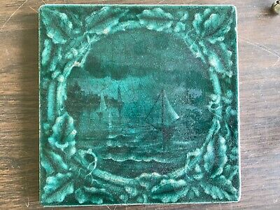 Old American Encaustic Tile With Sailboat Scene In Green Arts & Crafts