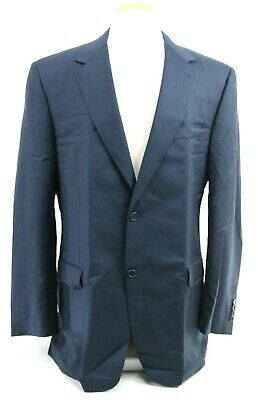 Canali Men's Blazer Sport Size 44L 100% Wool Navy Blue Made In Italy