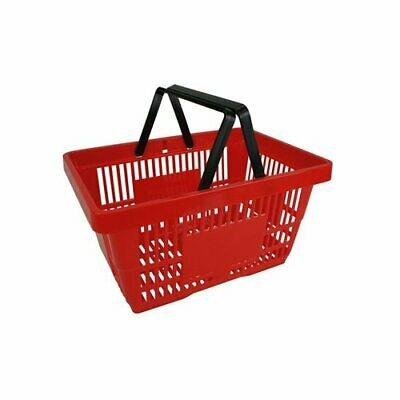 Supermarket Grocery Off licence Shopping baskets plastic basket two handle Red