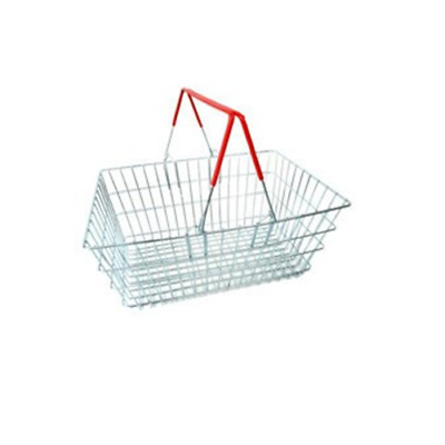 Red Shopping baskets wire two handle baskets storage 460x330x200mm 19 litre