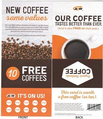 10 FREEE Coffees from ☕A & W Restaurants ☕Across Canada