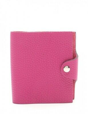 Auth HERMES Notebook Cover with Box Mini Rose Purple Togo Leather used