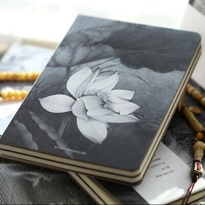 """Lotus Flower"" 1pc Hard Cover White Blank Papers Journal Drawing Sketchbook Memo"