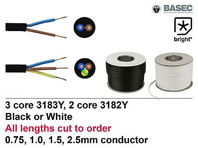 OFFER Flexible Mains Cable 2 & 3 core Black White 0.75, 1, 1,5, 2.5mm Wire Round