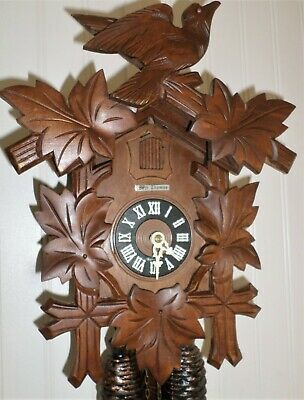 Nice German Seth Thomas Hand Carved Traditional 8 Day Black Forest Cuckoo Clock!