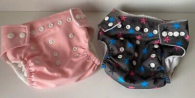 LOT 2pc Pappose One Size Pocket Cloth Diaper Cover Snaps Pink Gray Stars