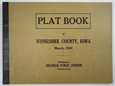 Winneshiek County Iowa Plat Book Family Farm History Map Genelogy Original 1940