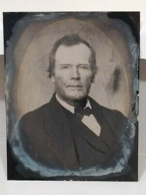 Antique 19Th Century Folk Art Tintype Clean Shaven Man Full Plate