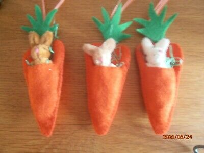Handmade Felt Easter Decorations - Carrot With Removeable Mini Bunny - X3 Set 1