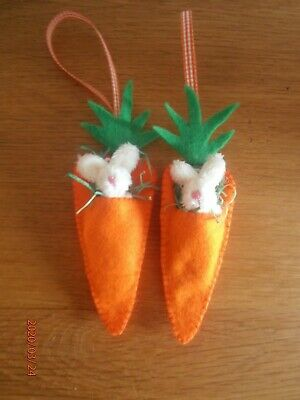 Handmade Felt Easter Decorations - Carrot With Removeable Mini Bunny - X2 Set 3