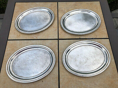 """Lot of 4 Antique Hotel Silverplate """"WILFRED'S""""  International Silver Co. Trays"""