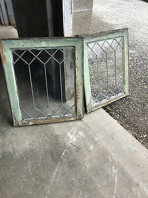 MK 19 Pair Antique leaded glass window 20.5 W by 23.5 H