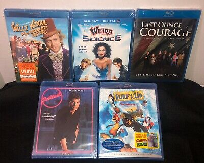 Lot of 5 Blu~ray Willy Wonka, Surfs Up,Cocktail,Weird Science,Last Ounce Courage