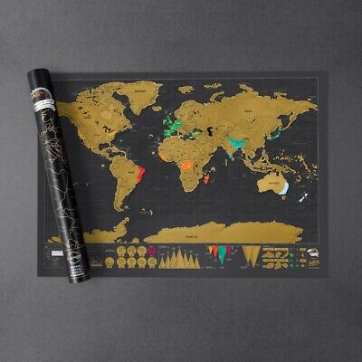 Scratch Map Deluxe by Luckies World Travel Scratch Off Wall Poster New Sealed