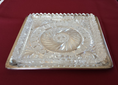 Vintage Heavy Cut Crystal Serving Dish with a Silver Plate Under-plate