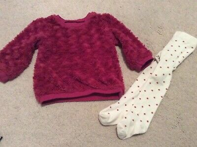 Baby Girls Next Spotty Tights & Pink Jumper. Age 12-18 Months, Cheap Postage