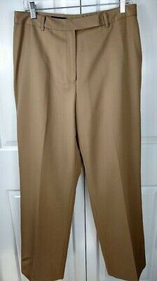 Brooks Brothers Womens 12 Dress Pants Camel Brown 100% Wool Flat Front Lined