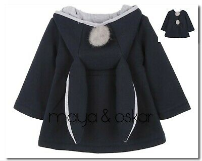 BABY GIRLS GREY BUNNY EARS RABBIT HOODED COAT JACKET OUTFIT 6 12 18m 2 3yrs