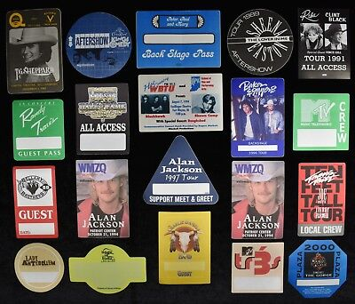 1980s & 1990s Country Music Backstage Pass Lot #4  (101 Passes)