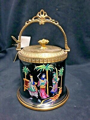 Black Glass Biscuit Barrel Hand Painted With Asian Designs