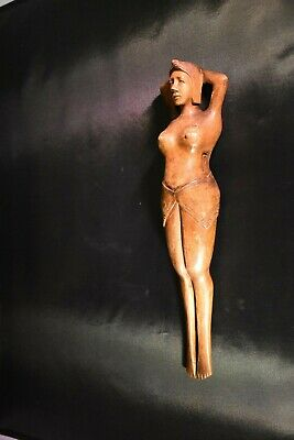 Hand carved WOOD Nude Naked WOMAN lady NUT CRACKER