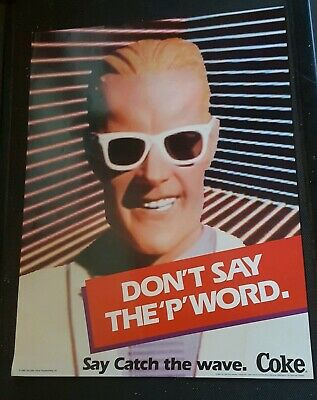 Vintage 1986 Coke Catch the Wave Max Headroom Don't Say the P Word Poster  NEW