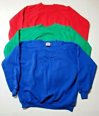 Lot of 3 Hanes Her Way Vintage Crewneck Sweatshirts Womens Large Red Green Blue