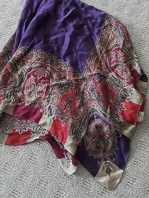 Vintage 70cm Square Silk Scarf Paisley Design Purple Red Tan Green