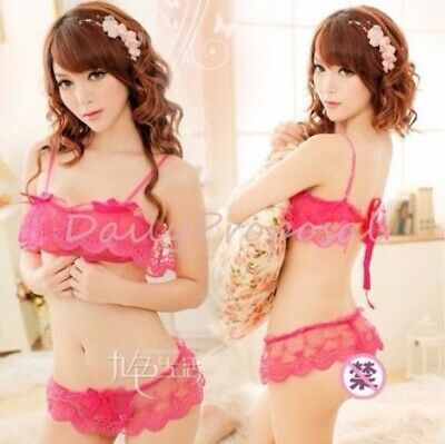 L34 Sexy Lace See Through Bra Top 2 Pcs Lingerie G-String Skirt Hot Pink XS/S US