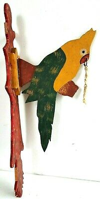 VTG Folk Art Wood Cockatoo Parrot Bird Hand Painted Wall Sculpture Hang Figure