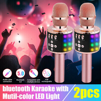 4 In 1 Wireless bluetooth Handheld Microphone Cordless KTV Karaoke Speaker RGB