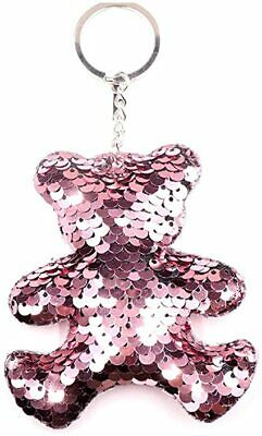 Teddy Bear Sequin Keychain Keyring